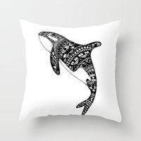 killer whale Throw Pillows featuring Killer Whale by Emma Barker