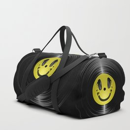 Vinyl headphone smiley Duffle Bag
