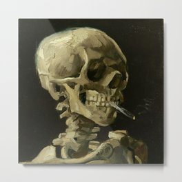 Vincent Van Gogh Skull of a Skeleton with Burning Cigarette Metal Print