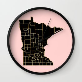 Minnesota map Wall Clock