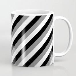 Black & White Diagonal Geometric Stripe Pattern Coffee Mug