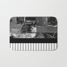 B&W II - Black and white, abstract, contrasting pattern Bath Mat