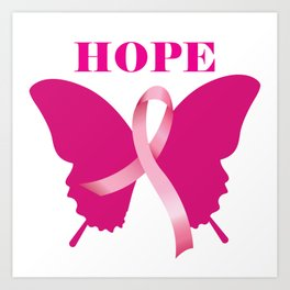Breast Cancer Butterfly - Hope Art Print