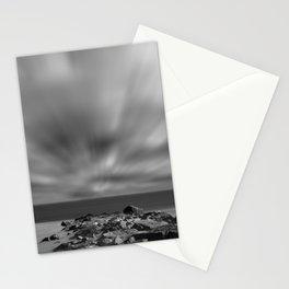 Windy Beach Black & White Abstract Coastal Landscape Photo Stationery Cards