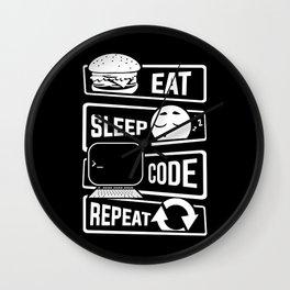 Eat Sleep Code Repeat - Computer Programmer CLI Wall Clock