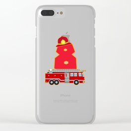 8th Birthday Fireman Firefighter Fire Truck Gift Clear iPhone Case