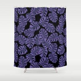 Ultra violet monstera Shower Curtain