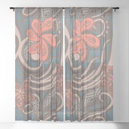 Polynesian Coral Tribal Theads Sheer Curtain