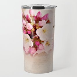 cherry blossoms with typography Travel Mug
