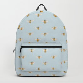 Watercolor Bees on Blue Backpack