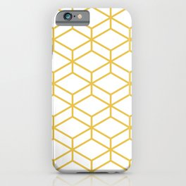 Geometric Honeycomb Lattice in Mustard Yellow and White. Modern Clean Minimalist iPhone Case