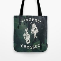 Tote Bags featuring Good Luck / I'm Lying by LordofMasks