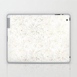 Elegant simple modern faux gold white floral Laptop & iPad Skin