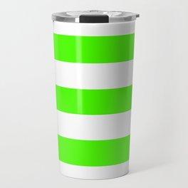 Chlorophyll green - solid color - white stripes pattern Travel Mug