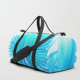 Solar Summer Fan Palms - Blue and Aqua Duffle Bag