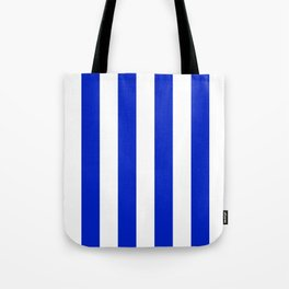 Cobalt Blue and White Wide Circus Tent Stripe Tote Bag