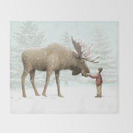 Winter Moose Throw Blanket