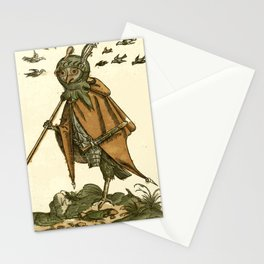 Owl dressed as a soldier Stationery Cards