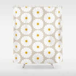 Minimal Botanical Pattern - Daisies Shower Curtain
