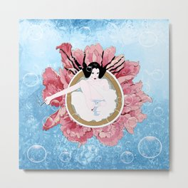 Bathing flower - Japanese girl Metal Print