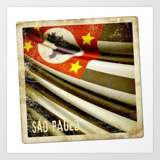 Sticker of Brazil (San Paulo) flag Art Print