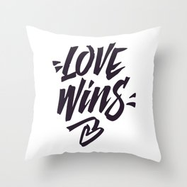 Love Wins Brush Lettering Throw Pillow