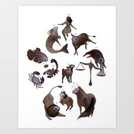 Skeleton zodiac Art Print