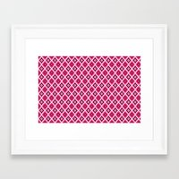 morrocan Framed Art Prints featuring Morrocan Manor in Pink by Elizabeth Rodriguez Caldwell