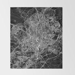 Madrid Black Map Throw Blanket