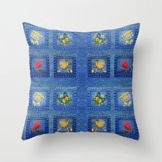 Denim Square Patches Throw Pillow