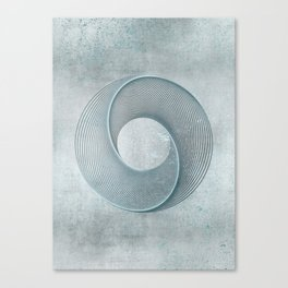 Geometrical Line Art Circle Distressed Teal Canvas Print