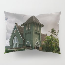 Wai'oli Hui'ia Church Hanalei Kauai Hawaii | Tropical Island Architecture Photography Print Pillow Sham