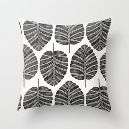 Elephant Ear Alocasia – Black Palette Throw Pillow