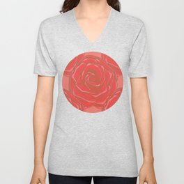 Cross-hatching Red Roses Pattern Unisex V-Neck