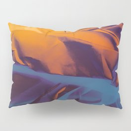 Orange, Purple and Blue Abstract. Mixed Media. Pillow Sham