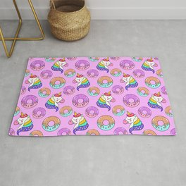 Cute happy funny colorful dreaming magical fantasy unicorns, sweet yummy Kawaii adorable donuts cartoon pastel baby pink pattern design. Rug