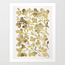 Cherry Blossoms – Gold Palette Art Print