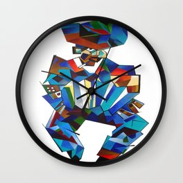 Accordion Player In Cubist Style Wall Clock