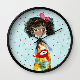 Red Bird Pet Doll Grungy Polka Dots Wall Clock