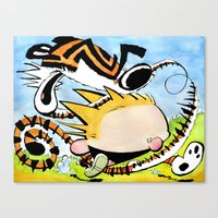 calvin hobbes Canvas Prints featuring Calvin and Hobbes caricature  by Eric Goodwin