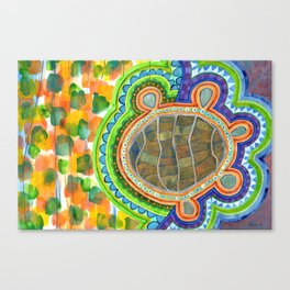 Weird Turtle in picturesque Blobs Pattern Canvas Print