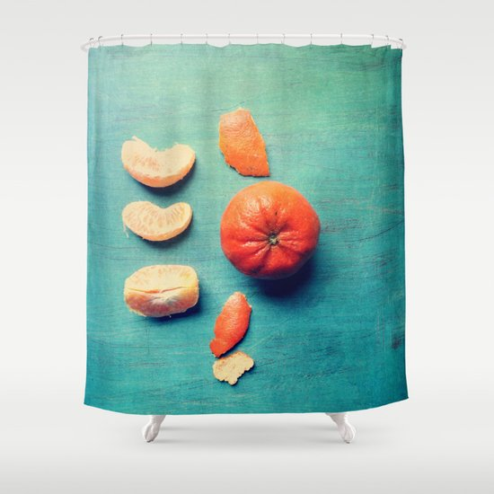 Orange Wedge Shower Curtain