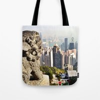 hong kong Tote Bags featuring Hong Kong by amberino