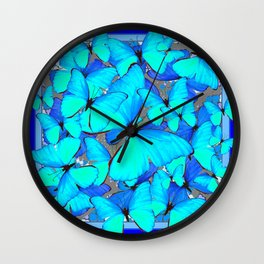 Shades of Turquoise Blue Butterflies Swarming Art Wall Clock