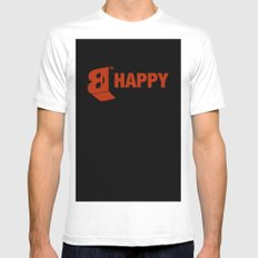 B-HAPPY #2 White MEDIUM Mens Fitted Tee