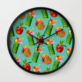 Tiki Cocktail Pattern - Teal Wall Clock