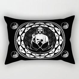 Buddha Black & White Yin & Yang Flower Of Life Rectangular Pillow