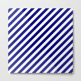 Navy Blue and White Candy Cane Stripes Metal Print