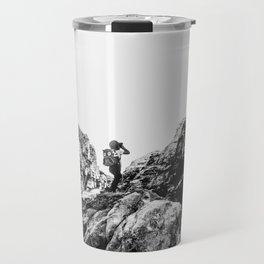 Boys Adventure   Rustic Camping Kid Red Rocks Climbing Explorer Black and White Nursery Photograph Travel Mug