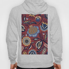 Abstract burgundy navy blue autumn floral Hoody